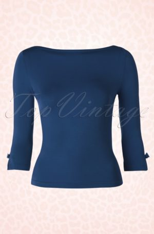 50s Modern Love Top in Navy