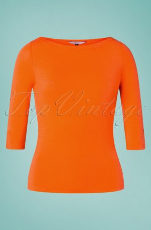 50s Modern Love Top in Orange