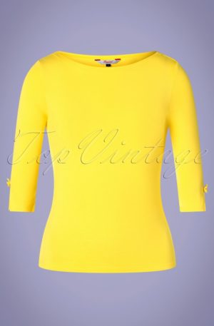 50s Modern Love Top in Yellow