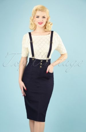 50s Nomi Denim Dungaree Pencil Skirt in Navy