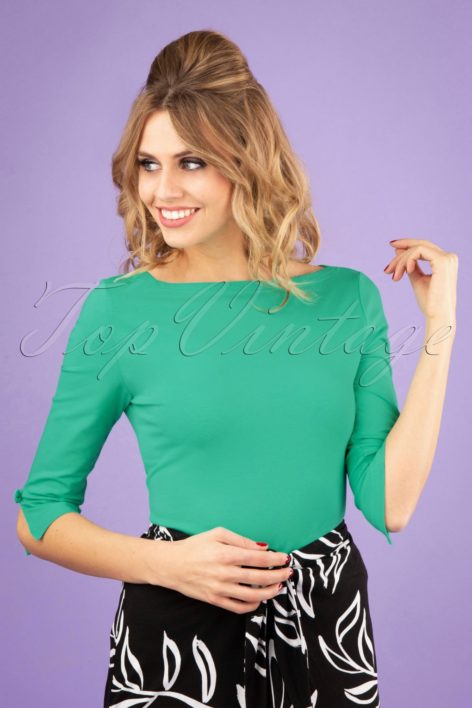 50s Oonagh Top in Mint Green