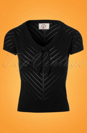 50s Patricia Pointelle Top in Black