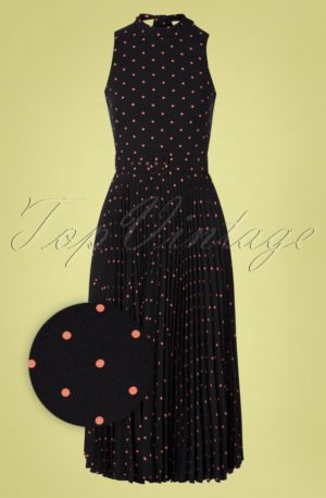 50s Penny Polkadot Pleated Dress in Black and Pink