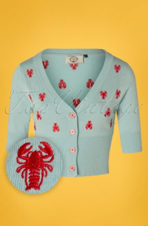 50s Pinch Me Lobster Cardigan in Pastel Blue