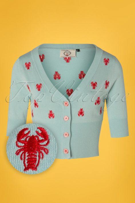 50s Pinch Me Lobster Cardigan in Pastel Blue