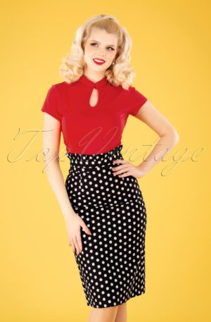 50s Polka Frill Pencil Skirt in Black