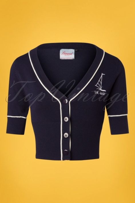 50s Sail Away Embroidered Cardigan in Navy