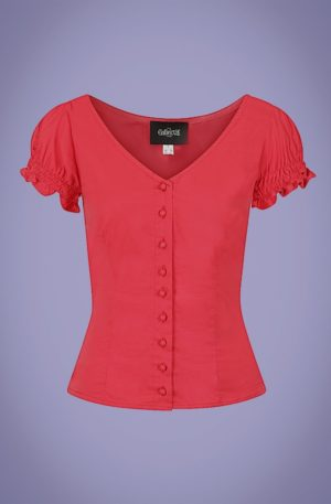50s Sofia Gypsy Top in Red