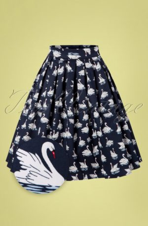 50s Summer Swan Pleated Swing Skirt in Navy