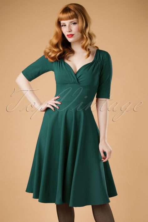 50s Trixie Doll Swing Dress in Teal