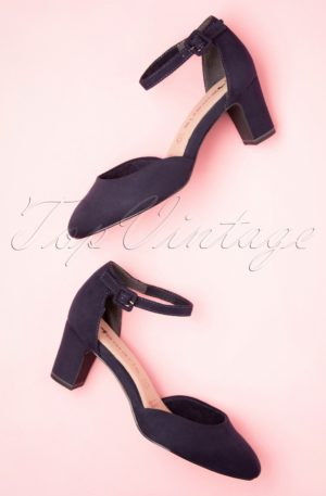 50s Trixie Suedine Pumps in Navy