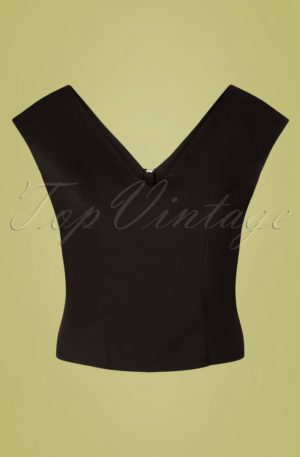 50s Tropical Day Top in Black