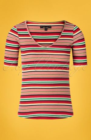 60s Carice Poolside Stripes V Top in Chili Red