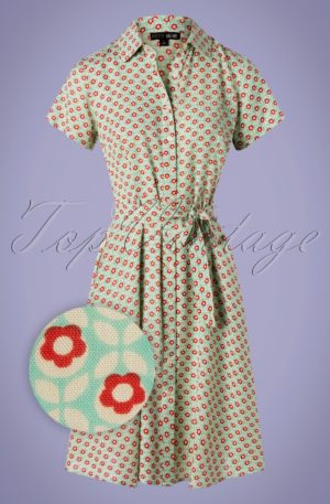 60s Debbie Cosmos Dress in Mint Blue