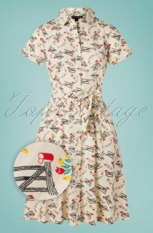 60s Debbie Mail Dress in Cream