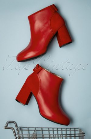60s Eileen On The Scene Booties in Burned Red