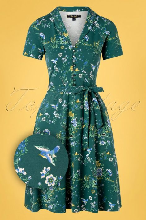 60s Emmy Griffin Dress in Dragonfly Green