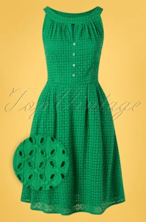 60s Esme Embroidery Swing Dress in Green