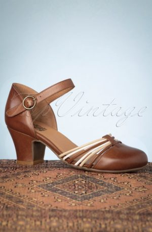 60s Fedora Leather Pumps in Brandy