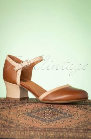 60s Fleet Leather Pumps in Brandy and Beige