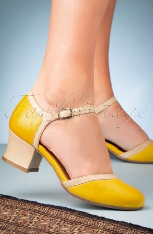 60s Fleet Leather Pumps in Yellow and Beige