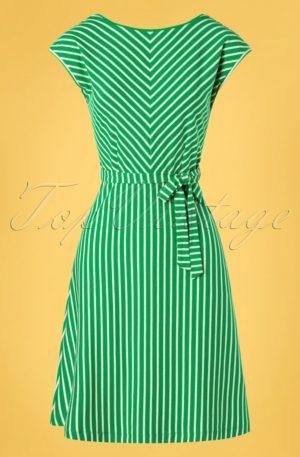 60s Grace Breton Stripe Dress in Very Green