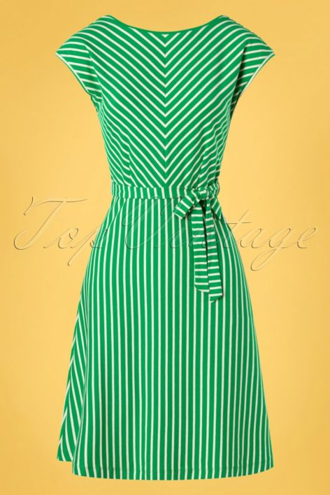 60s Grace Breton Stripe Dress in Very Green