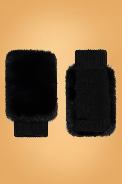 60s Grace Wool Gloves in Black