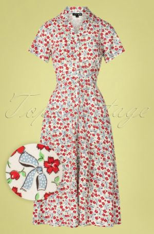 60s Jonie Floral Bows Dress in Cream