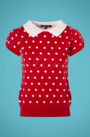 60s Kristen Polkadot Sweater in Red and Ivory