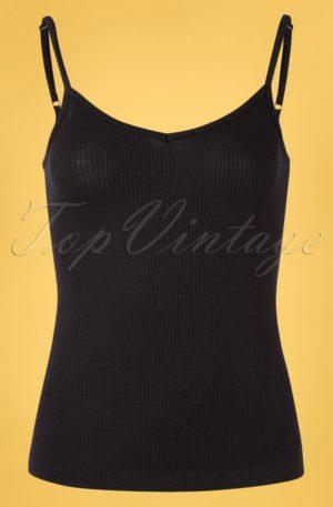 60s Nadya Camisole Rib Tencel Top in Black