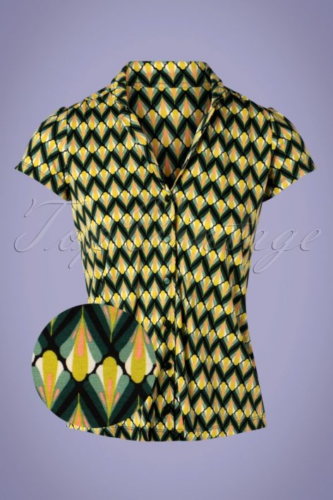 60s Patty Namaste Blouse in Spar Green