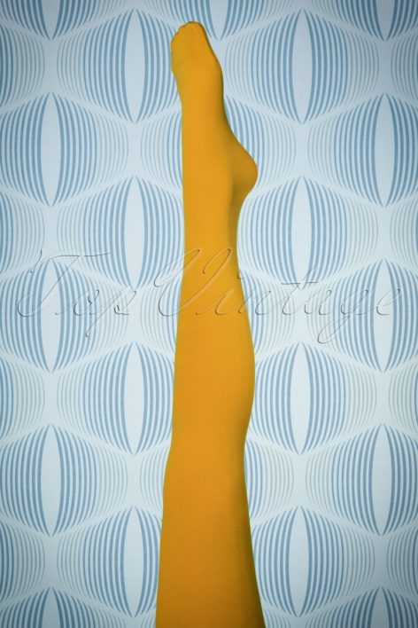 60s Penelope Tights in Sunset Yellow