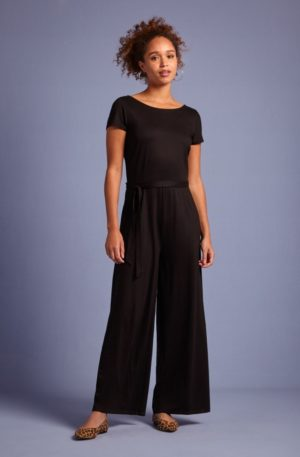 60s Sally Ecovero Classic Jumpsuit in Black