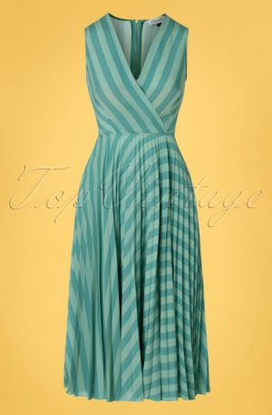 60s Skylar Pleated Wrap Dress in Minty Teal