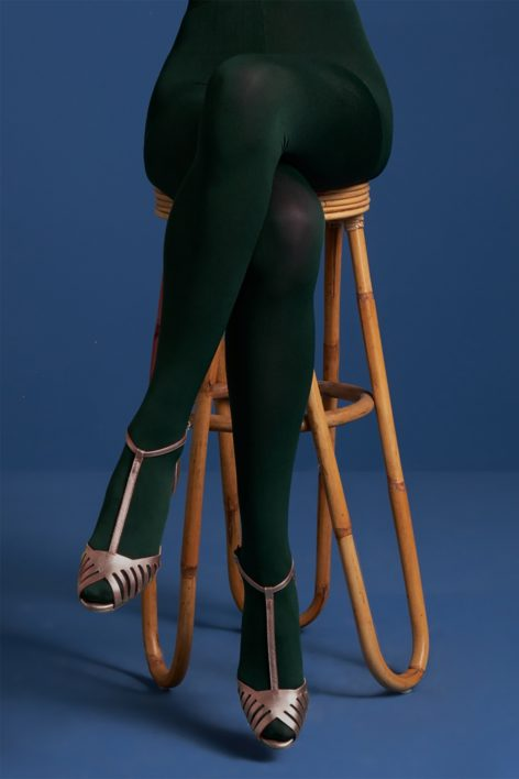 60s Solid Tights in Pine Green