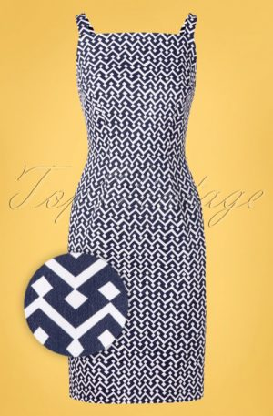 60s Tile Pencil Dress in Navy and White