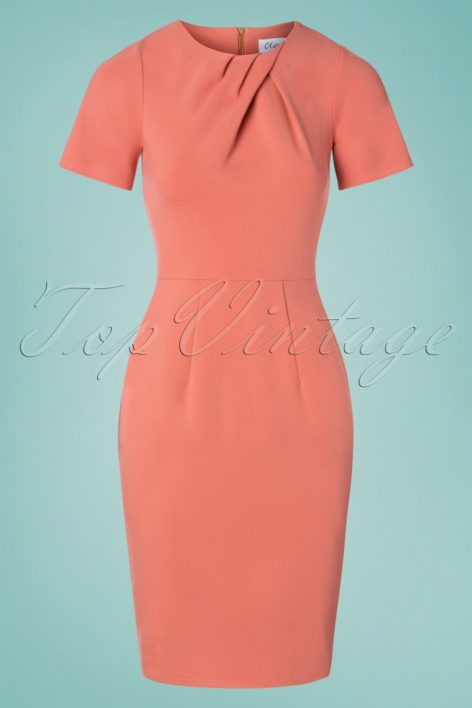 60s Vivianna Pencil Dress in Coral Pink