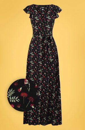 70s Thelma Pressed Flower Maxi Dress in Black