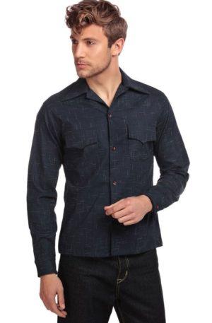 Collectif Adam Crosshatch Shirt, blau von Rockabilly Rules