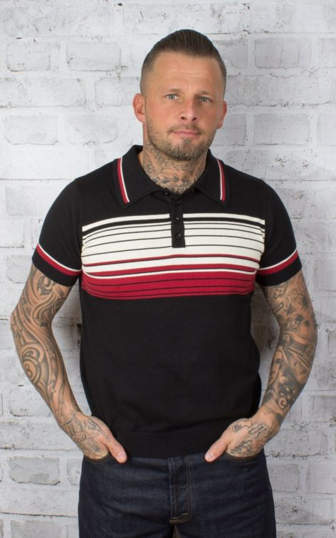 Collectif Streifen | Striped Polo Shirt Peru von Rockabilly Rules