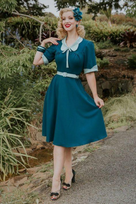 Ella Collaboration ~ 40s Ella Kat Swing Dress in Teal and Mint
