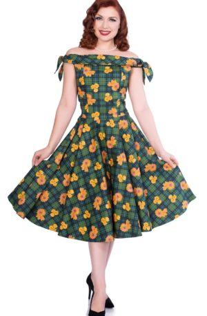 Sheen Clothing Swing Kleid Scotish Vichy Flower Zola von Rockabilly Rules