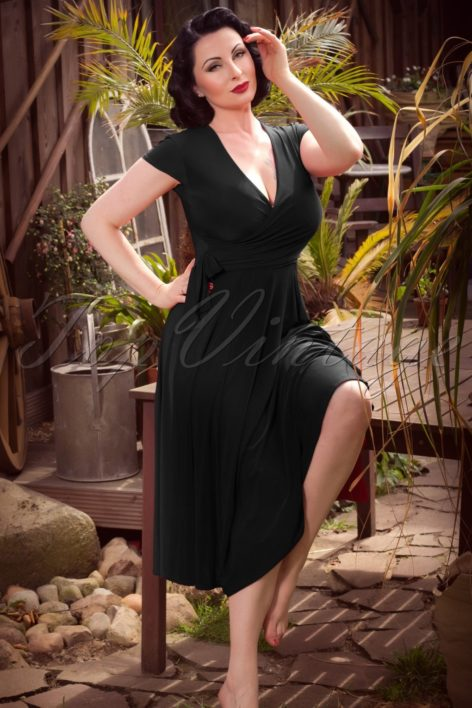 TopVintage exclusive ~ 50s Layla Cross Over Dress in Black