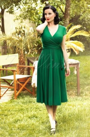 TopVintage exclusive ~ 50s Layla Cross Over Dress in Green