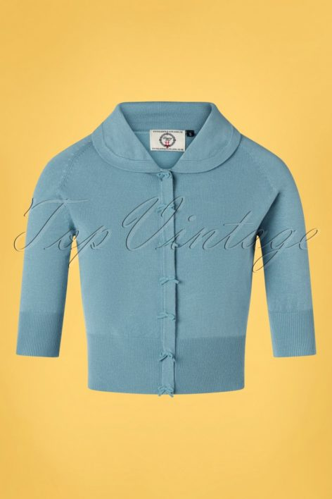 40s April Bow Cardigan in Baby Blue
