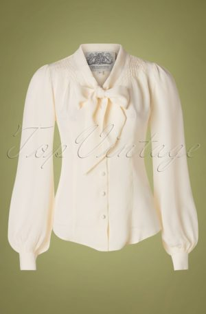 40s Eva Blouse in Cream Crêpe