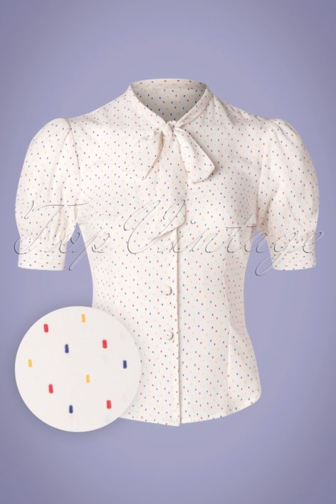 40s Melody Sprinkles Blouse in White