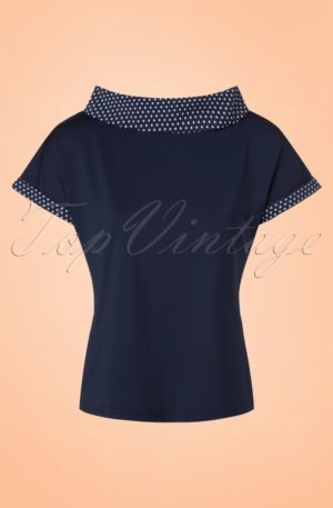 50s Alicia Blouse in Navy