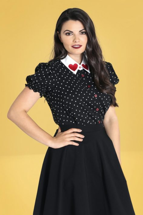 50s Allie Hearts Blouse in Black